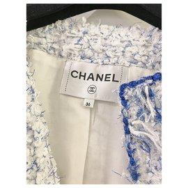 Chanel-2018 Veste en tweed bleu blanc de la collection Spring Summer Waterfall-Blanc,Bleu,Bleu clair