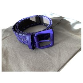 Bottega Veneta-Bottega Veneta belt braided leather and purple snake leather-Purple
