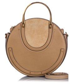 Chloé-Chloe Brown Medium Pixie Leather Satchel-Brown,Light brown