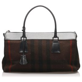 Burberry-Burberry Black Plaid Wool Handbag-Black,Multiple colors