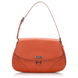 Burberry-Burberry Orange Leather Shoulder Bag-Orange