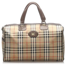 Burberry-Burberry Brown Haymarket Check Canvas Travel Bag-Brown,Multiple colors