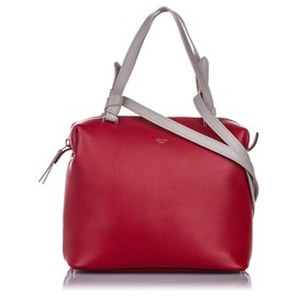 Céline-Celine Red Small Soft Cube Leather Satchel-White,Red