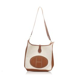 Hermès-Hermes White Toile Evelyne GM-Marron,Blanc