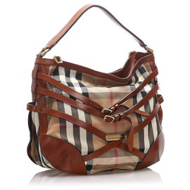 Burberry-Burberry Brown House Check Canvas Satchel-Brown,Multiple colors