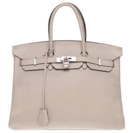 Hermès-Splendid Hermès Birkin handbag 35 in dove gray Togo, palladium silver metal trim in superb condition!-Grey