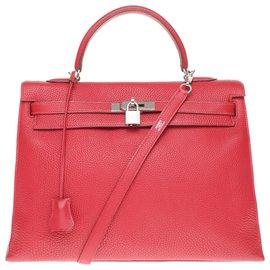 Hermès-Superbe et Rare Sac Hermès Kelly 35 bandoulière en cuir Togo rouge à coutures sellier, garniture en métal plaqué or-Rouge
