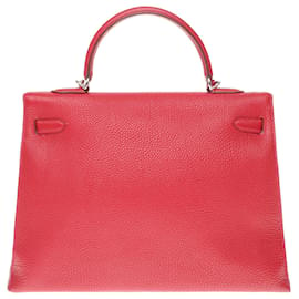 Hermès-Superb and Rare Hermès Kelly Bag 35 shoulder strap in red Togo leather with saddle stitching, gold plated metal trim-Red