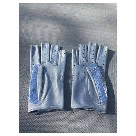 Chanel-Chanel mittens in python leather-Silvery