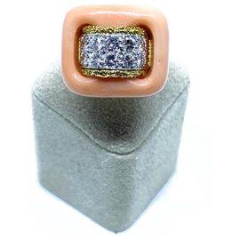 Van Cleef & Arpels-Bague Van Cleef & Arpels vintage en corail rose et diamant-Doré