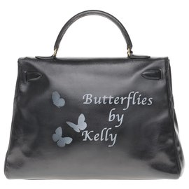 "Hermès-hermes kelly 35 in black box leather customized ""Butterflies by Kelly"" #68 by PatBo-Black"