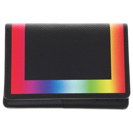Louis Vuitton-Limited series - Men's fall / winter fashion shows 2019 - Men's wallet in black Taiga leather with rainbow piping, new condition!-Black,Multiple colors