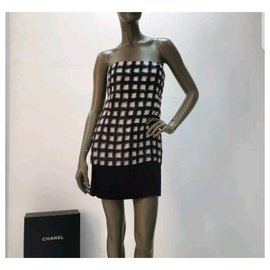 Chanel-Chanel Runway 2013 Checked Pearl Multicolor Dress Sz 38-Multiple colors