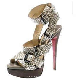 Christian Louboutin-Christian Louboutin Beige Cobra Toutenkaboucle Strappy Platform Sandals Size 38-Beige