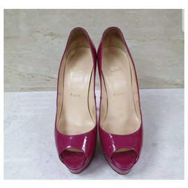 Christian Louboutin-CHRISTIAN LOUBOUTIN Lady Peep Patent Violet Peep Toe Pumps - Eu 38-Multiple colors