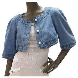 Chanel-CHANEL Cropped Denim Pearl Button Jacket Bolero Sz.36-Blue