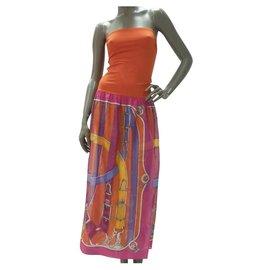 Hermès-Robe de plage bustier d'été sans manches en coton orange Cavalcadour Hermès, sz38-Multicolore