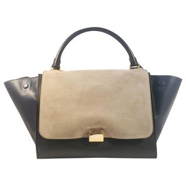Céline-CELINE Trapeze Medium Tricolor Leather and Suede Bag-Black,Blue,Grey