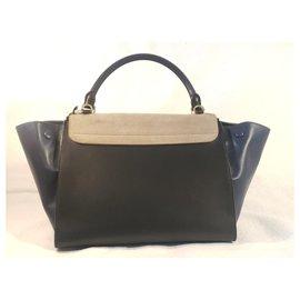 Céline-Sac CELINE Trapeze Medium Tricolore cuir et Suede-Noir,Bleu,Gris