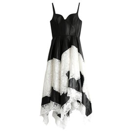 Alexander Mcqueen-SS20 Leather & Lace Gown-Black