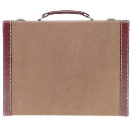 Hermès-Superb Hermès Collector bi-material toiletry case in beige canvas and burgundy leather!-Beige,Dark red