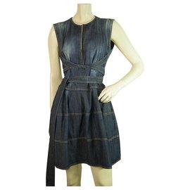 Dsquared2-DSquared DS2 Mini robe en denim bleu uni sans manches taille 42 avec longue ceinture-Bleu