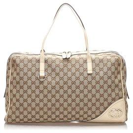 Gucci-Gucci Brown GG Sac de voyage en toile-Marron,Blanc,Beige