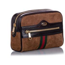 Gucci-Gucci Brown Small Ophidia Suede Belt Bag-Marron,Multicolore