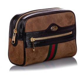 Gucci-Gucci Brown Small Ophidia Suede Belt Bag-Marron,Multicolore