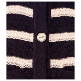 Chanel-robe rayée en cachemire-Multicolore