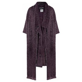 Chanel-tweed coat with scarf-Purple