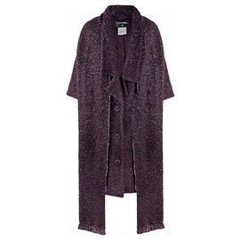 Chanel-manteau en tweed avec foulard-Violet