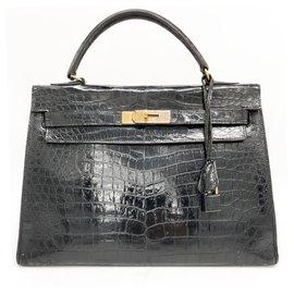 Hermès-Kelly 32 black crocodile-Black
