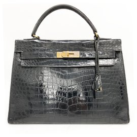 Hermès-kelly 32 CROCODILE NOIR-Noir