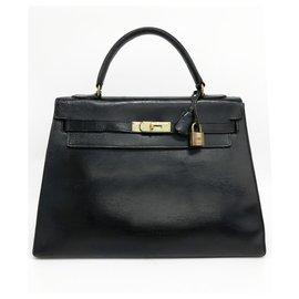 Hermès-Sac Hermès Kelly 32 en cuir de box noir vintage sellier-Noir