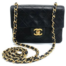 Chanel-Chanel Timeless / Classic mini bag in black leather-Black