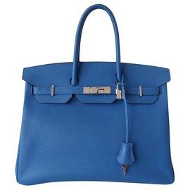 Hermès-SAC HERMES BIRKIN 35 BLEU ZANZIBAR-Bleu