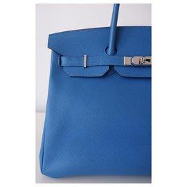 Hermès-HERMES BIRKIN BAG 35 ZANZIBAR BLUE-Blue