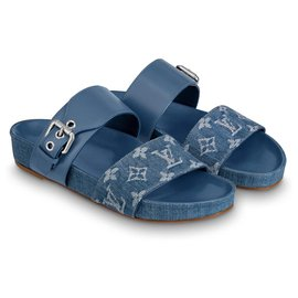 Louis Vuitton-Mules plates Bom dia neuves LV-Bleu