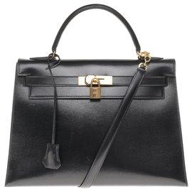 Hermès-Splendide Hermès Kelly 32 sellier bandoulière en cuir box noir, garniture en métal plaqué or en superbe état !-Noir