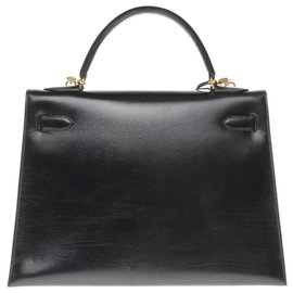 Hermès-Splendid Hermès Kelly 32 black box leather shoulder strap, gold-plated metal trim in superb condition!-Black