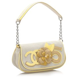 Chanel-Chanel Gray Camellia CC No 5 Canvas Baguette-Grey,Yellow