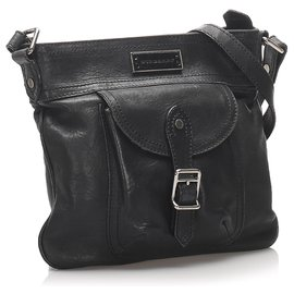 Burberry-Burberry Black Leather Crossbody Bag-Black