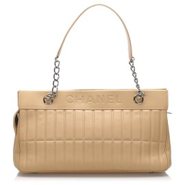 Chanel-Chanel Brown Leather Chocolate Bar Shoulder Bag-Brown,Light brown