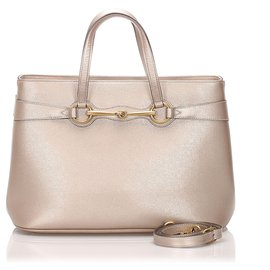 Gucci-Cartable en cuir Gucci rose brillant-Rose,Doré