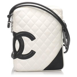 Chanel-Chanel White Cambon Ligne Crossbody Bag-Black,White