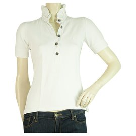 Burberry-Burberry London White Frill Collar Polo neck T- Shirt Top sz XS-White