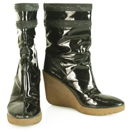 Céline-Celine Black Patent Leather Beige Crepe Wedge Platform Booties Shoes Boot 40-Black