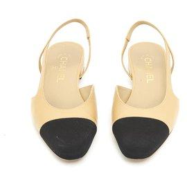 Chanel-BEIGE BLACK FR37.5 slingback-Beige