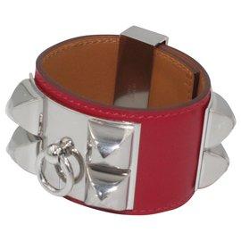 Hermès-Bracelet Hermès Collier de Chien Rouge-Argent-Rouge
